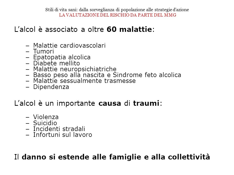 L'alcol è associato a oltre 60 malattie: