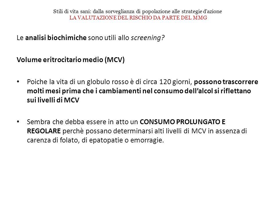 Le analisi biochimiche sono utili allo screening