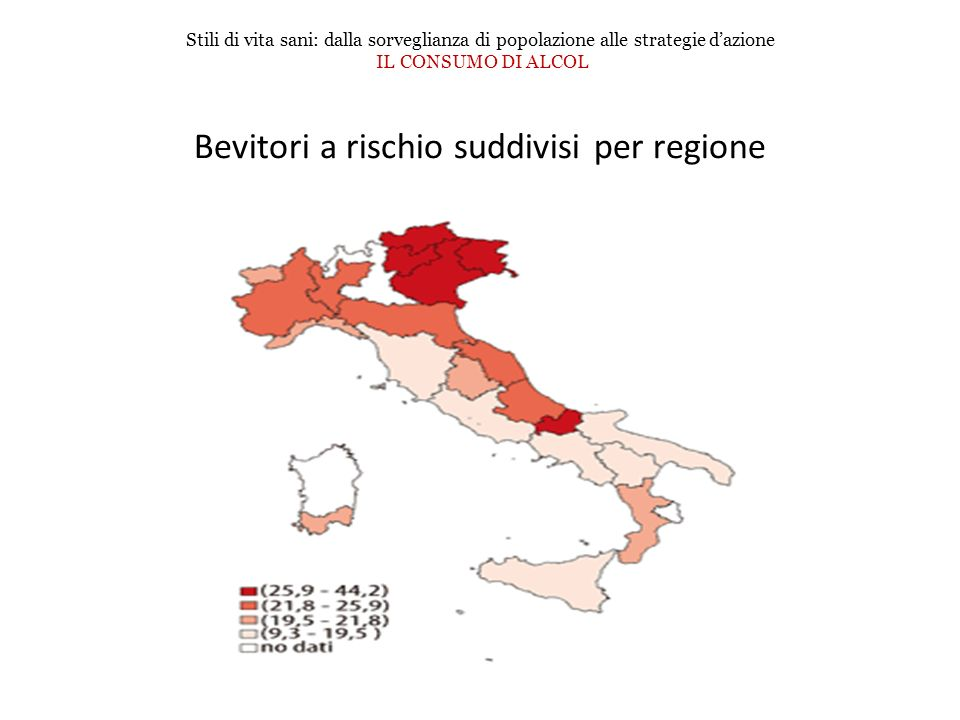 Bevitori a rischio suddivisi per regione