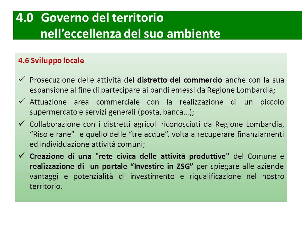 4.0 Governo del territorio nell'eccellenza del suo ambiente