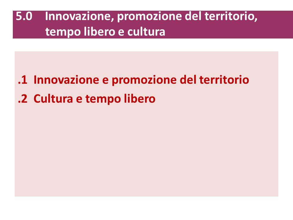 5.0 Innovazione, promozione del territorio, tempo libero e cultura