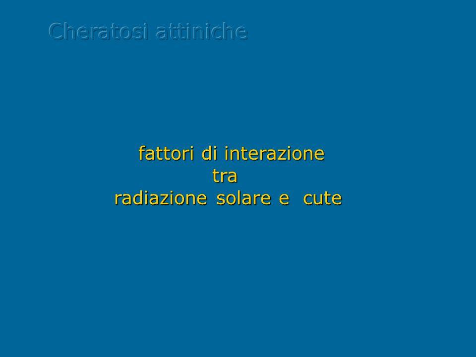 Cheratosi attiniche fattori di interazione tra radiazione solare e cute.