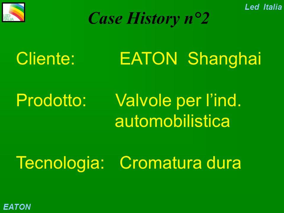 Led Italia Case History n°2. Cliente: EATON Shanghai Prodotto: Valvole per l'ind. automobilistica Tecnologia: Cromatura dura.