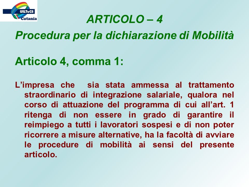 Procedura per la dichiarazione di Mobilità