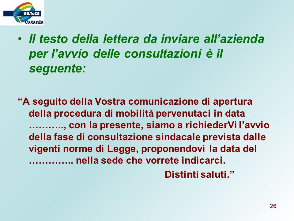 Il testo della lettera da inviare all'azienda per l'avvio delle consultazioni è il seguente: