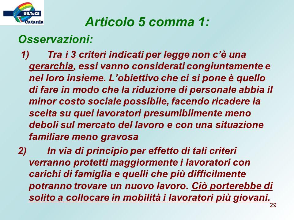 Articolo 5 comma 1: Osservazioni: