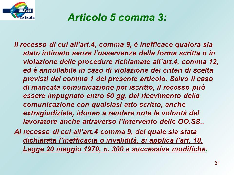 Articolo 5 comma 3: