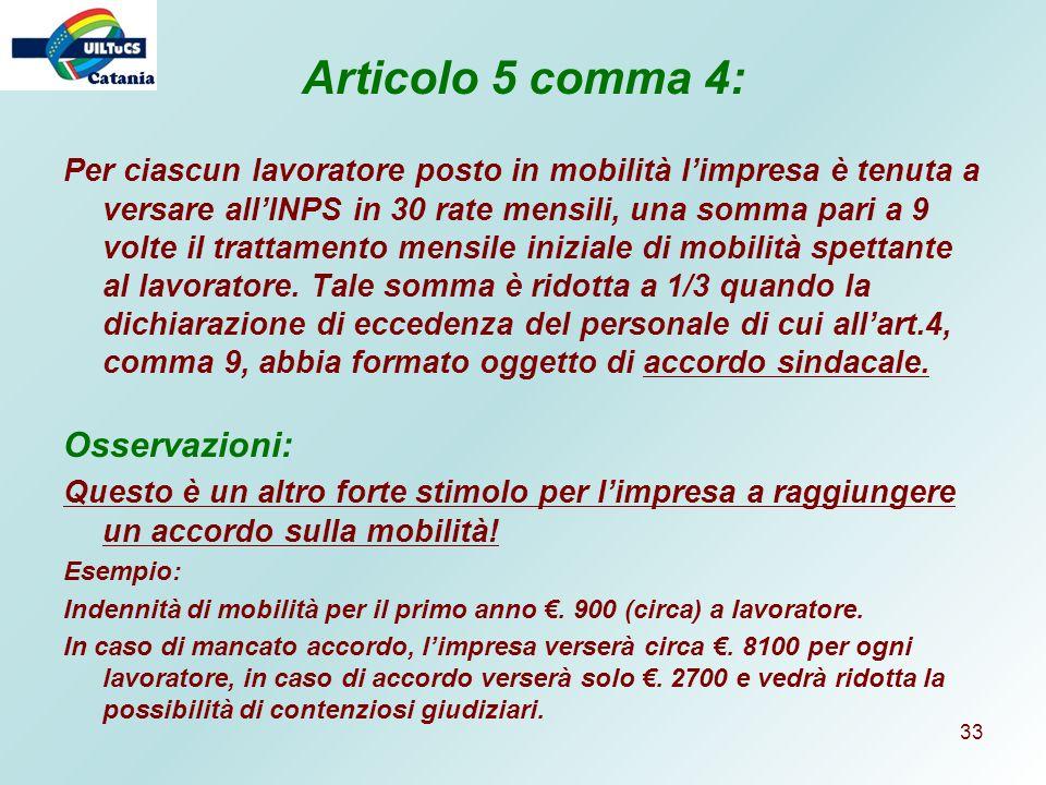 Articolo 5 comma 4: Osservazioni: