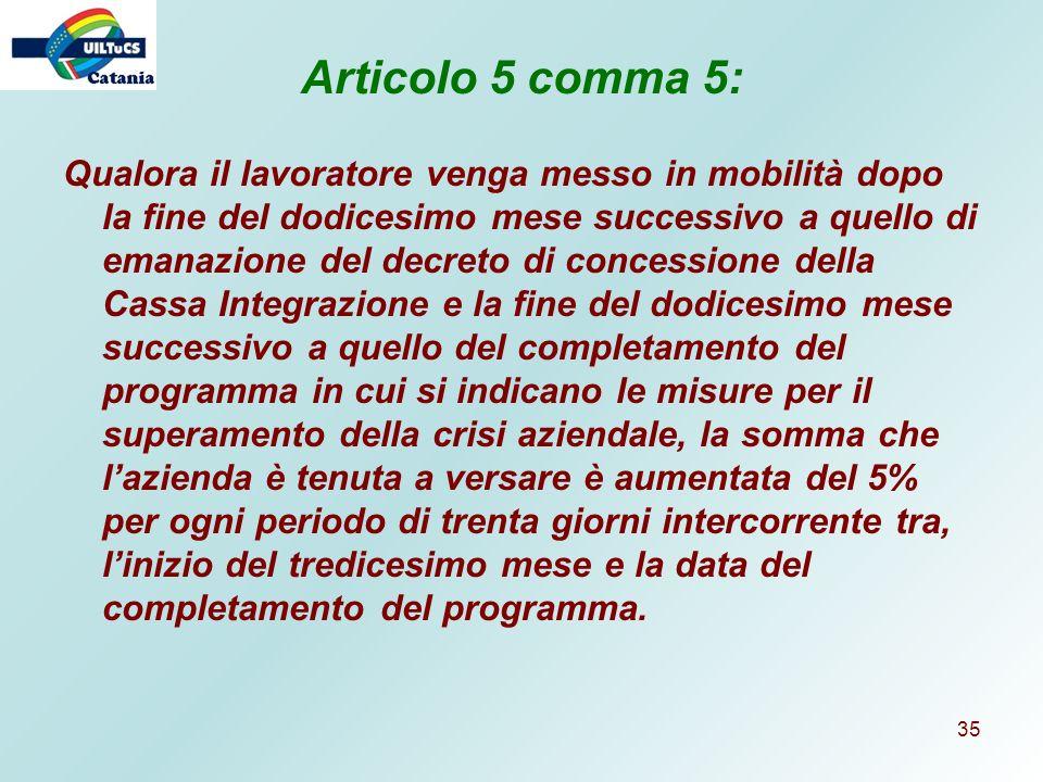 Articolo 5 comma 5: