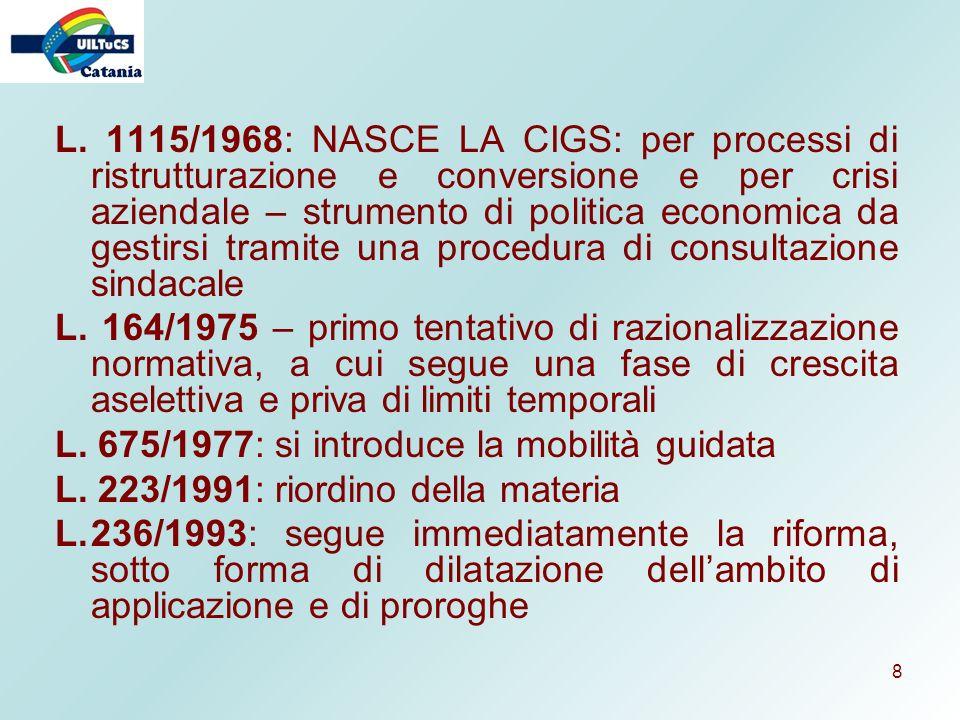 L. 1115/1968: NASCE LA CIGS: per processi di ristrutturazione e conversione e per crisi aziendale – strumento di politica economica da gestirsi tramite una procedura di consultazione sindacale