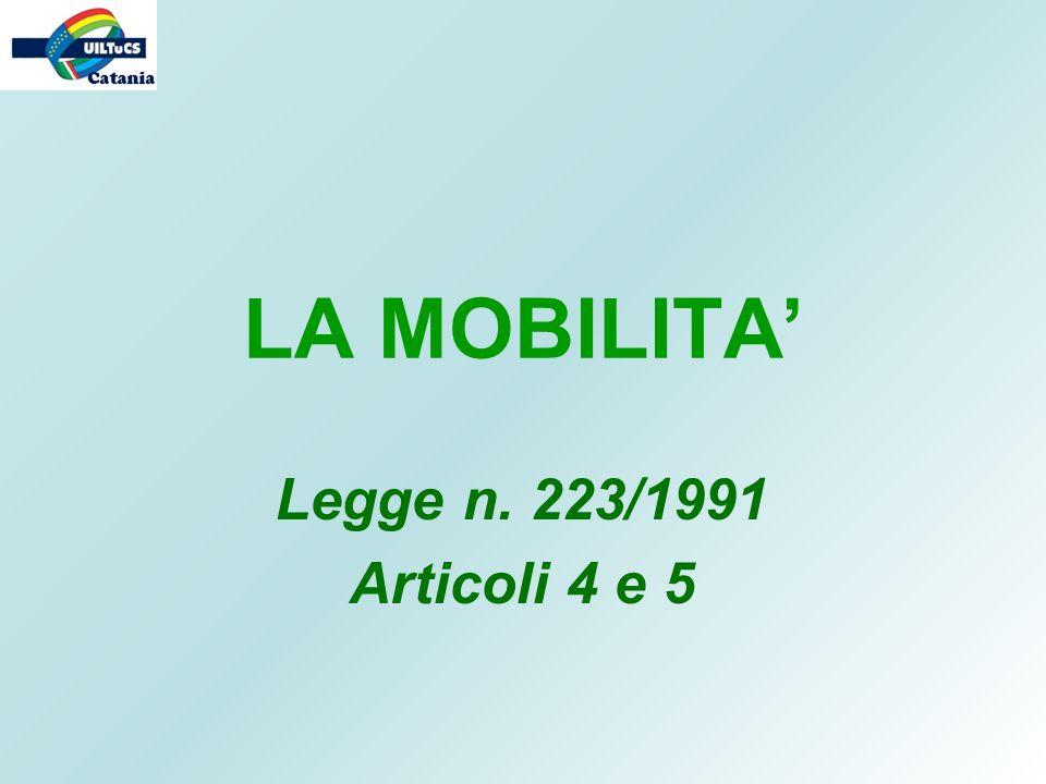 LA MOBILITA' Legge n. 223/1991 Articoli 4 e 5