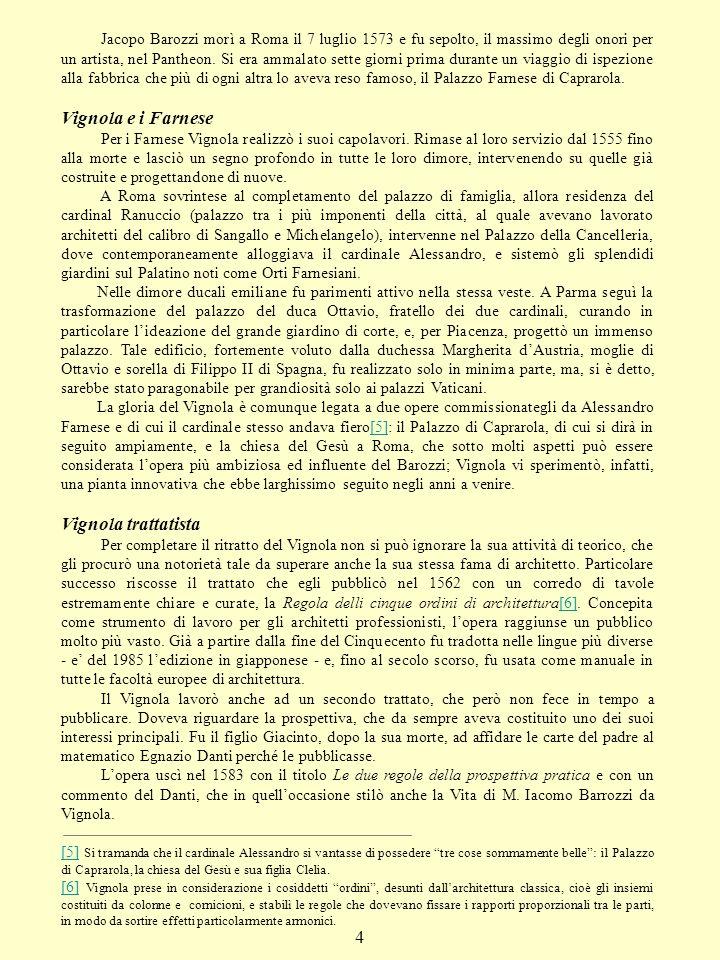 Vignola e i Farnese Vignola trattatista 4