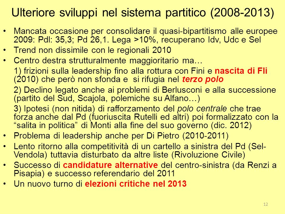 Ulteriore sviluppi nel sistema partitico (2008-2013)