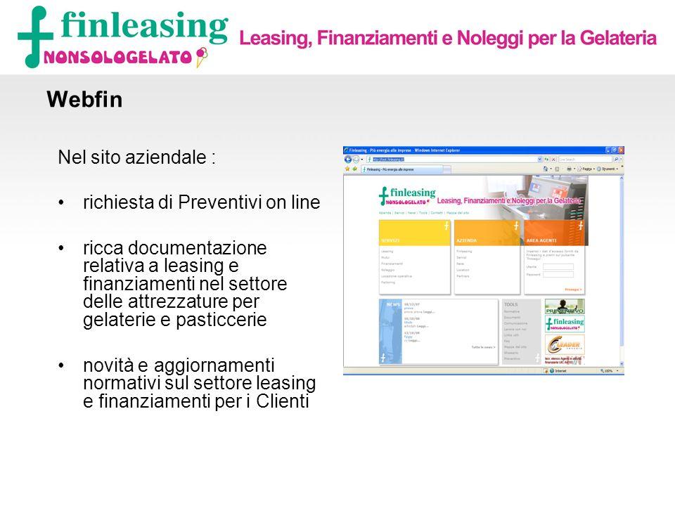 Webfin Nel sito aziendale : richiesta di Preventivi on line