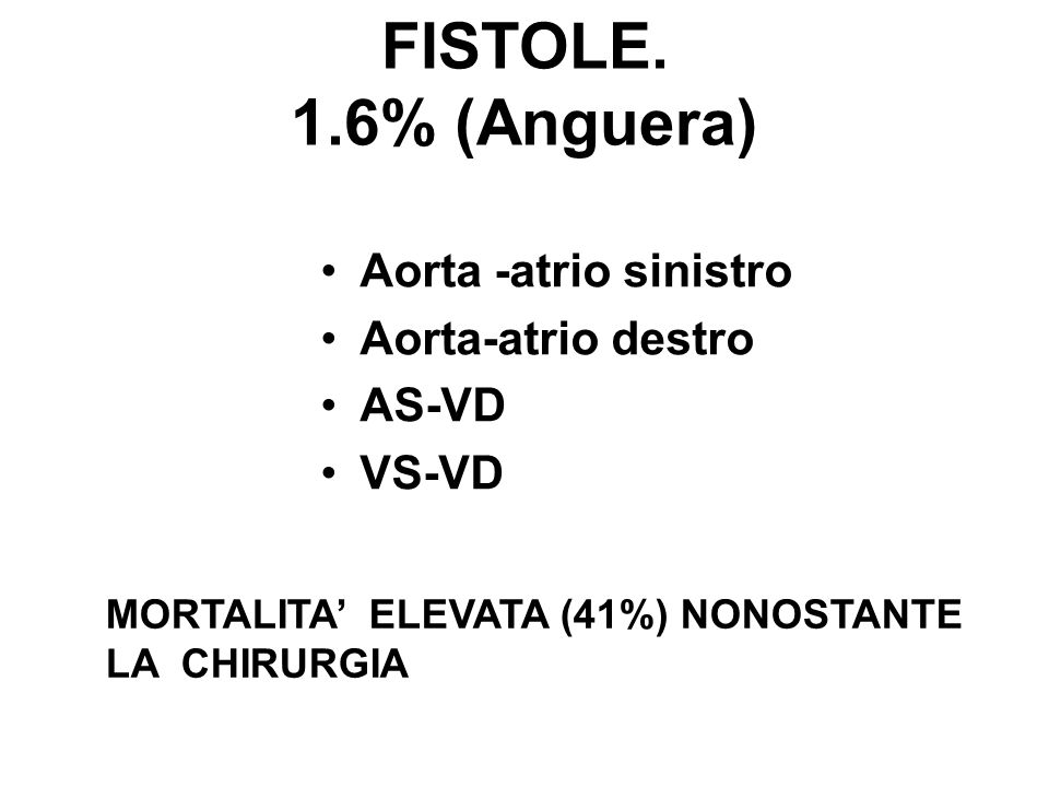 FISTOLE. 1.6% (Anguera) Aorta -atrio sinistro Aorta-atrio destro AS-VD
