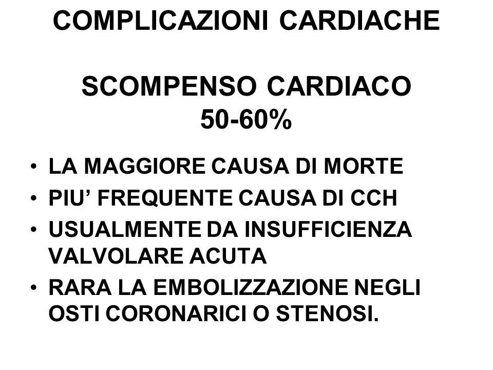 COMPLICAZIONI CARDIACHE SCOMPENSO CARDIACO 50-60%