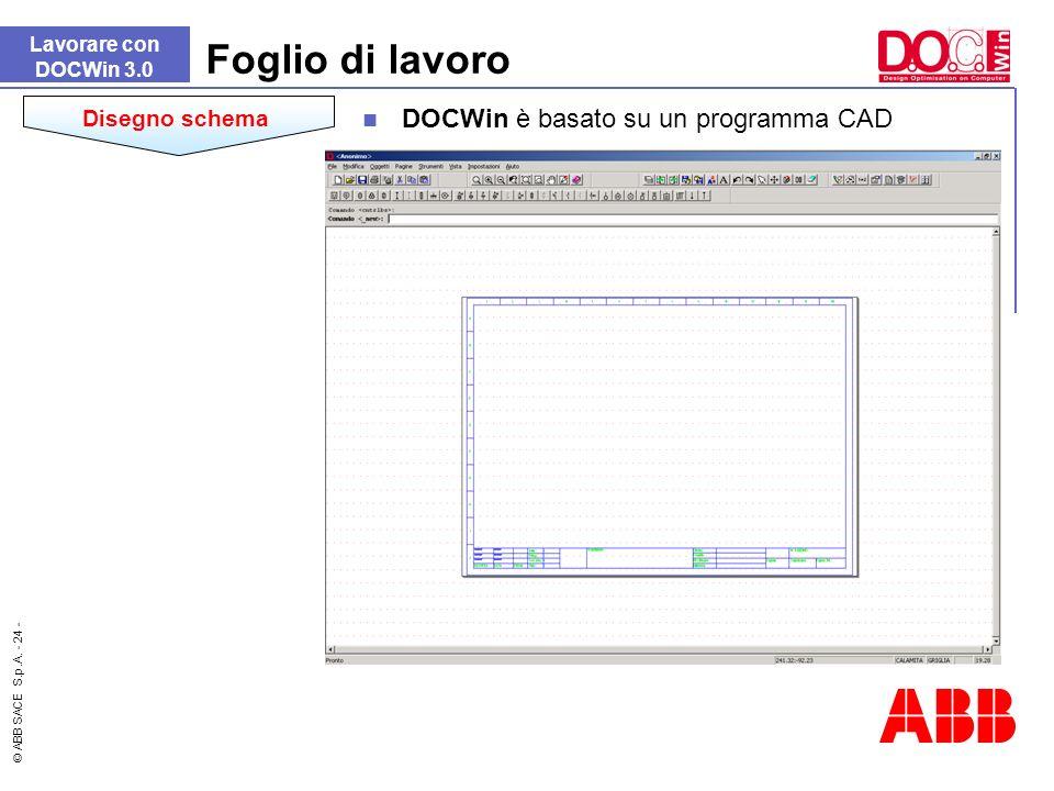 Foglio di lavoro DOCWin è basato su un programma CAD Disegno schema