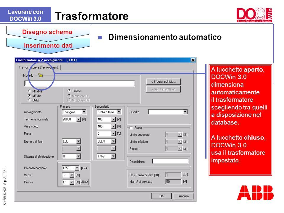 Trasformatore Dimensionamento automatico Disegno schema