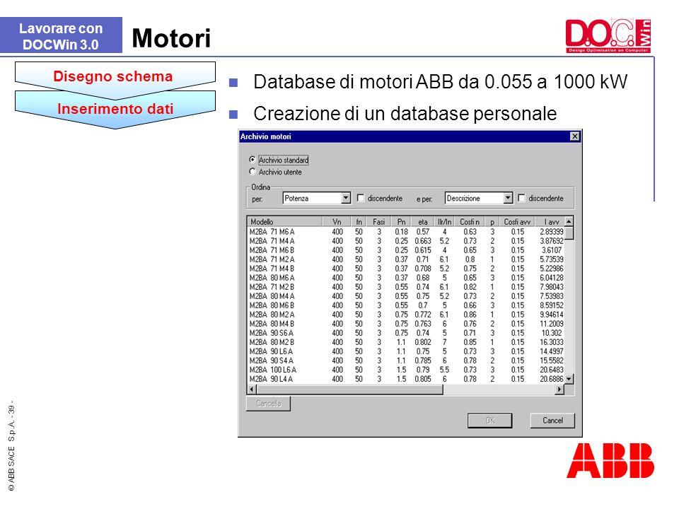 Motori Database di motori ABB da 0.055 a 1000 kW