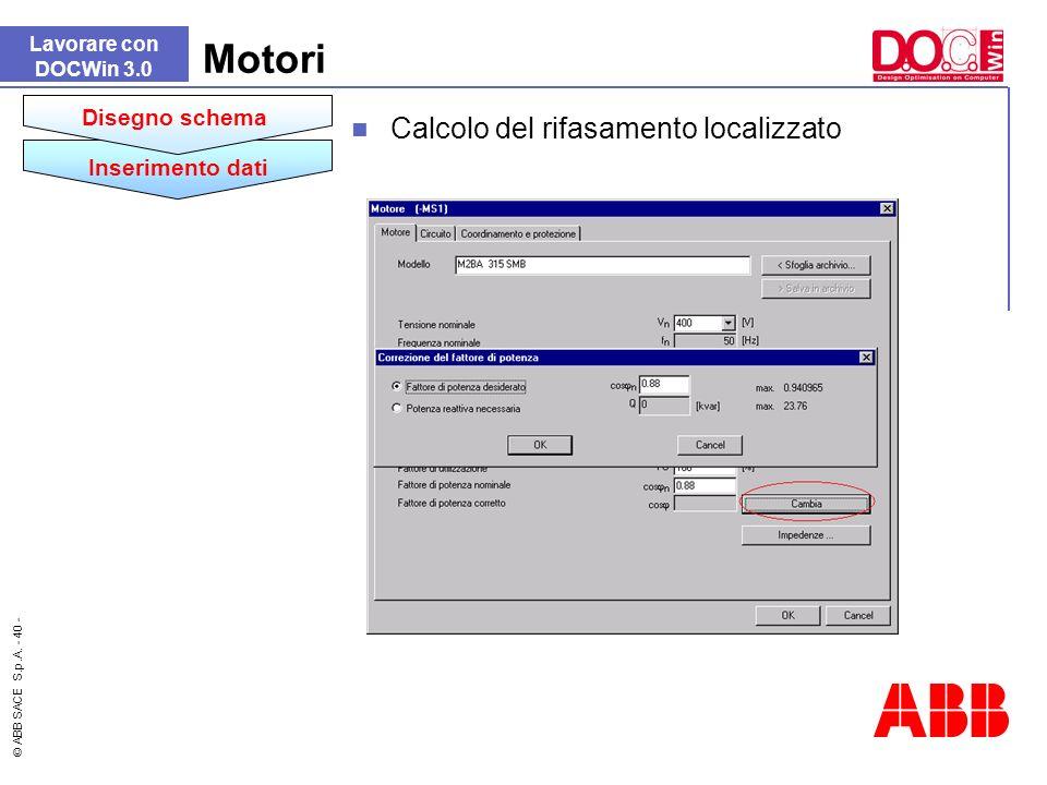 Motori Calcolo del rifasamento localizzato Disegno schema