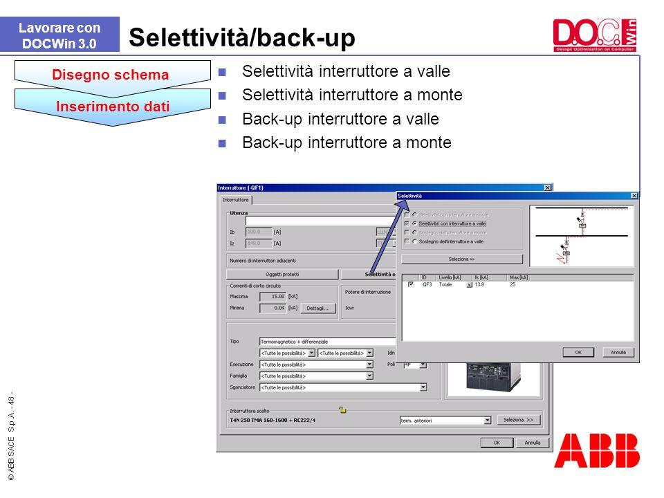 Selettività/back-up Selettività interruttore a valle
