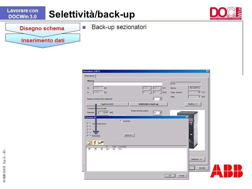 Selettività/back-up Back-up sezionatori Disegno schema