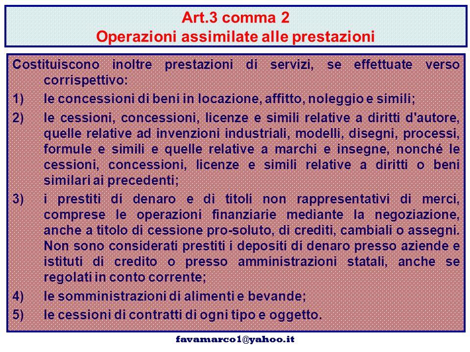 Art.3 comma 2 Operazioni assimilate alle prestazioni