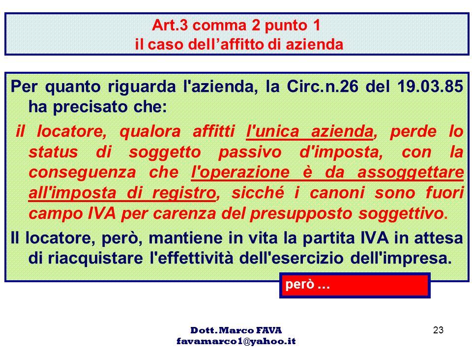 Art.3 comma 2 punto 1 il caso dell'affitto di azienda