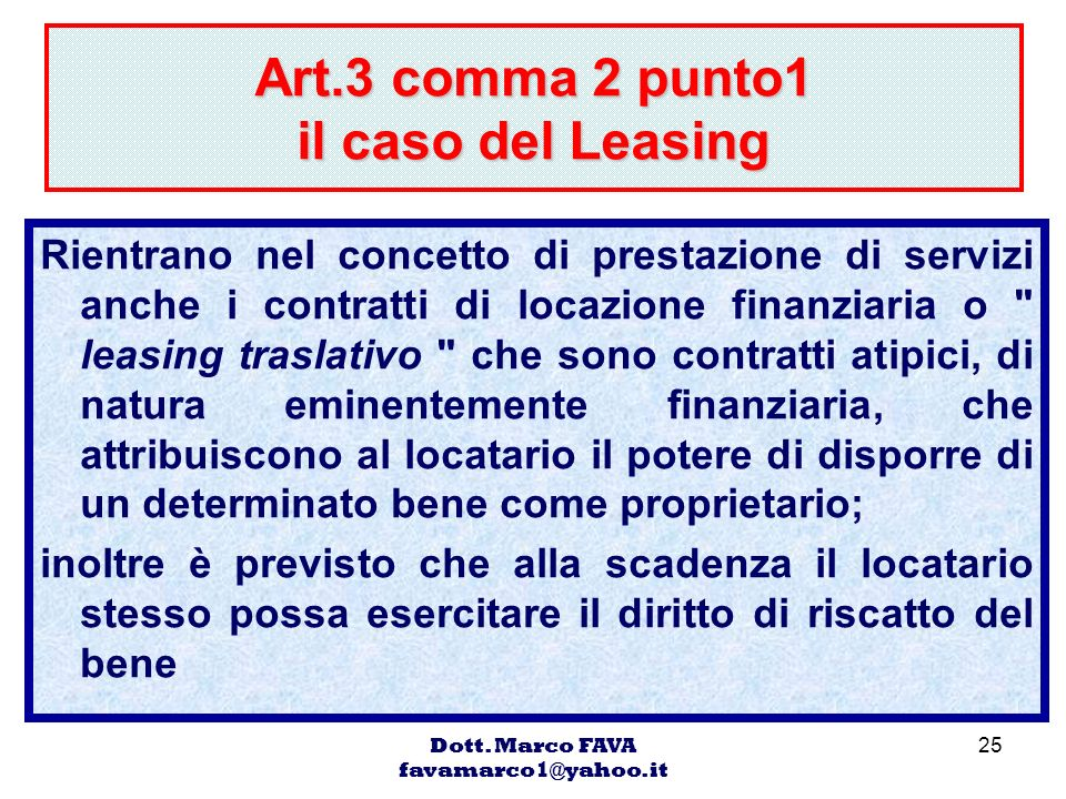 Art.3 comma 2 punto1 il caso del Leasing