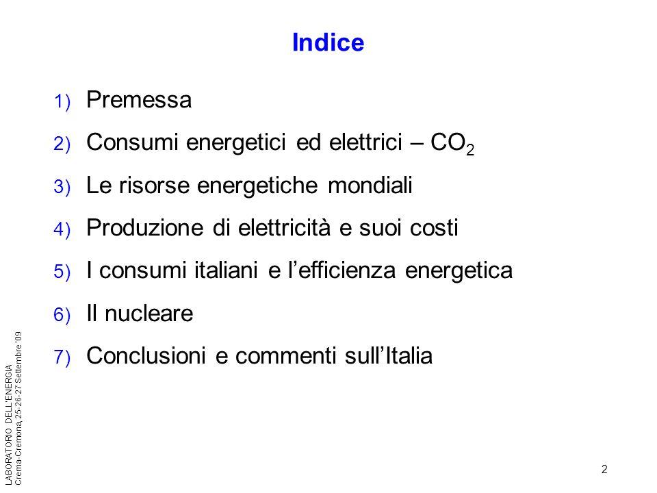 Indice Premessa Consumi energetici ed elettrici – CO2