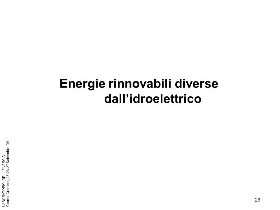 Energie rinnovabili diverse dall'idroelettrico
