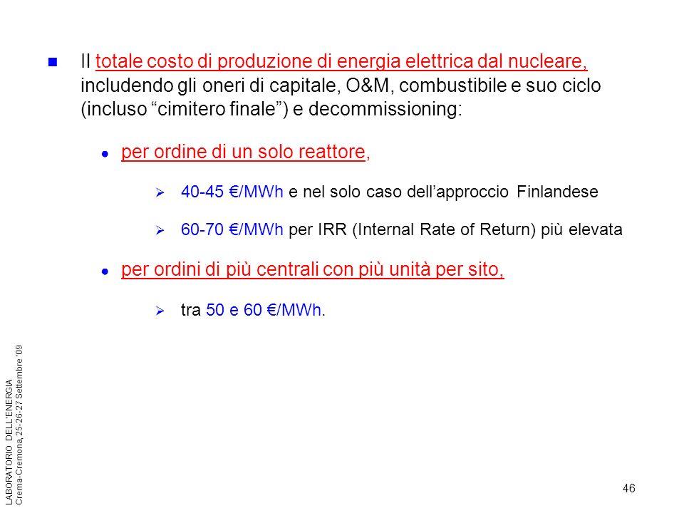per ordine di un solo reattore,
