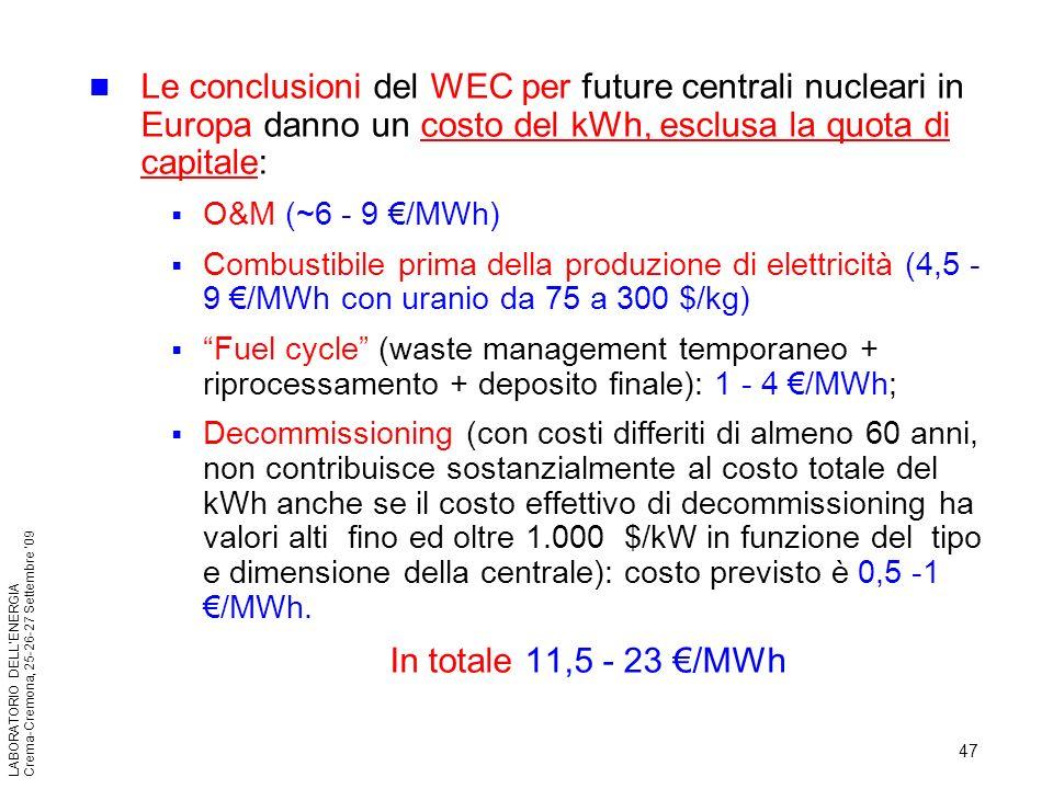 Le conclusioni del WEC per future centrali nucleari in Europa danno un costo del kWh, esclusa la quota di capitale: