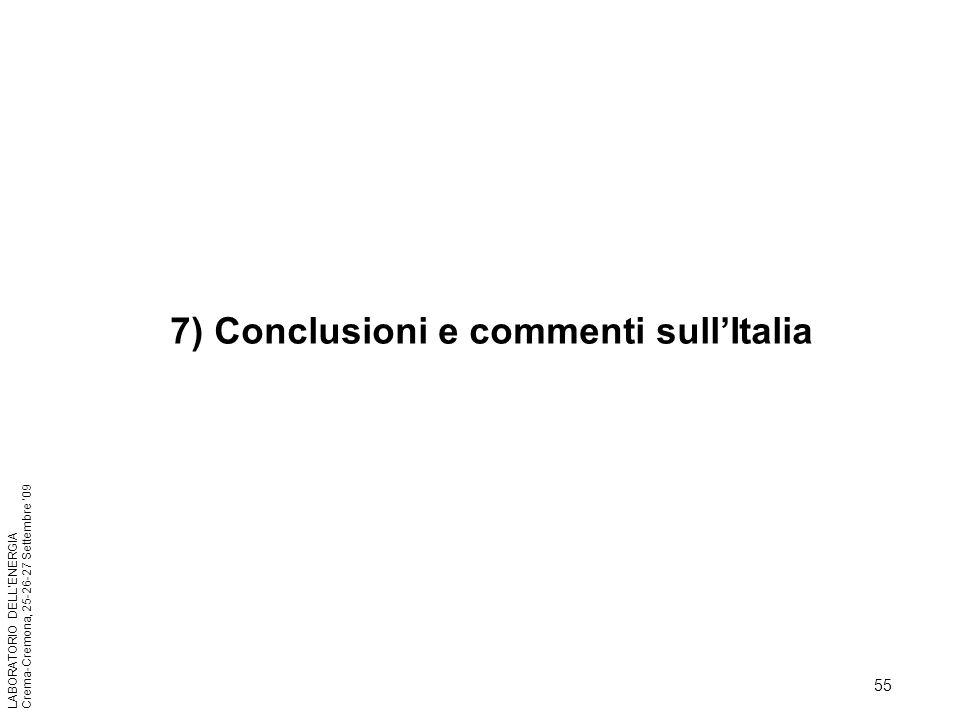7) Conclusioni e commenti sull'Italia