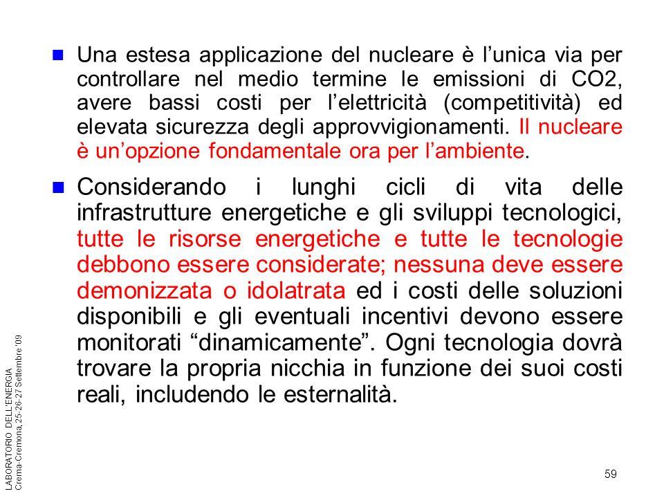 Una estesa applicazione del nucleare è l'unica via per controllare nel medio termine le emissioni di CO2, avere bassi costi per l'elettricità (competitività) ed elevata sicurezza degli approvvigionamenti. Il nucleare è un'opzione fondamentale ora per l'ambiente.