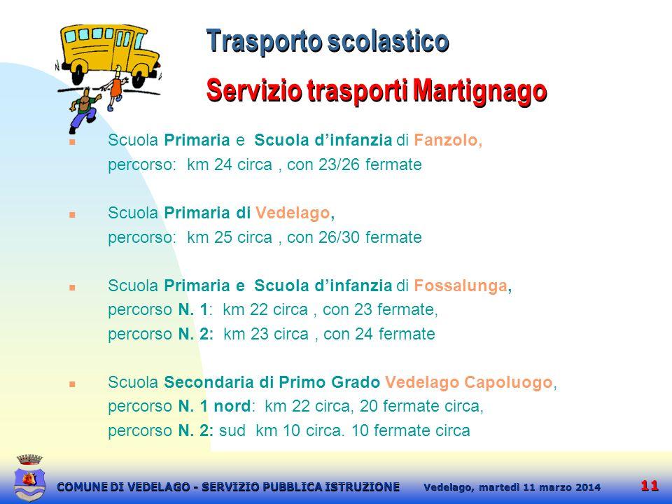 Trasporto scolastico Servizio trasporti Martignago