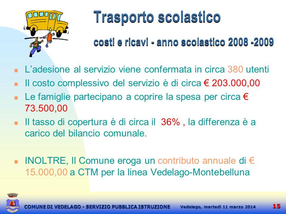 Trasporto scolastico costi e ricavi - anno scolastico 2008 -2009