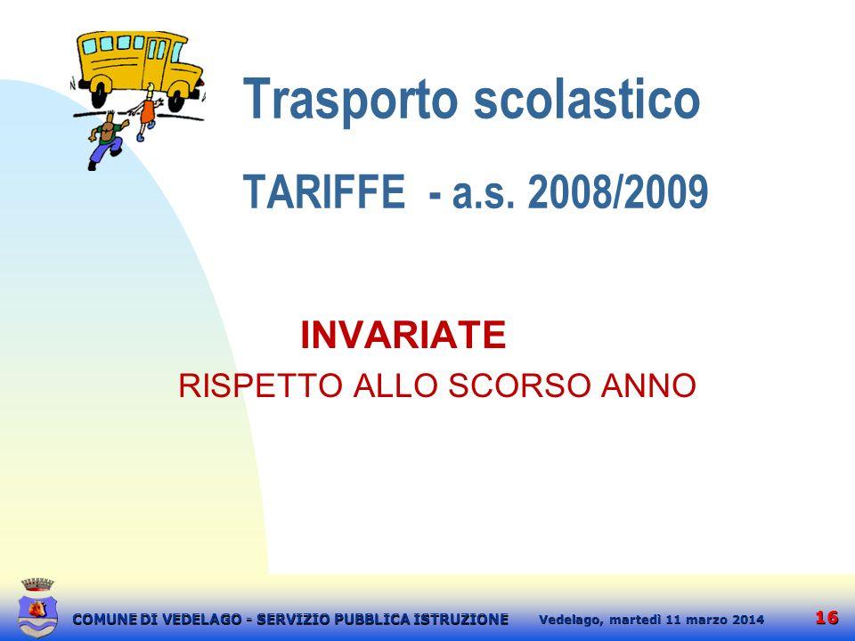Trasporto scolastico TARIFFE - a.s. 2008/2009