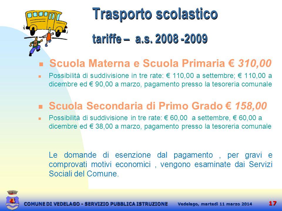 Trasporto scolastico tariffe – a.s. 2008 -2009