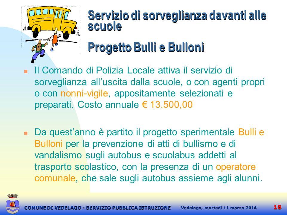 Servizio di sorveglianza davanti alle scuole Progetto Bulli e Bulloni