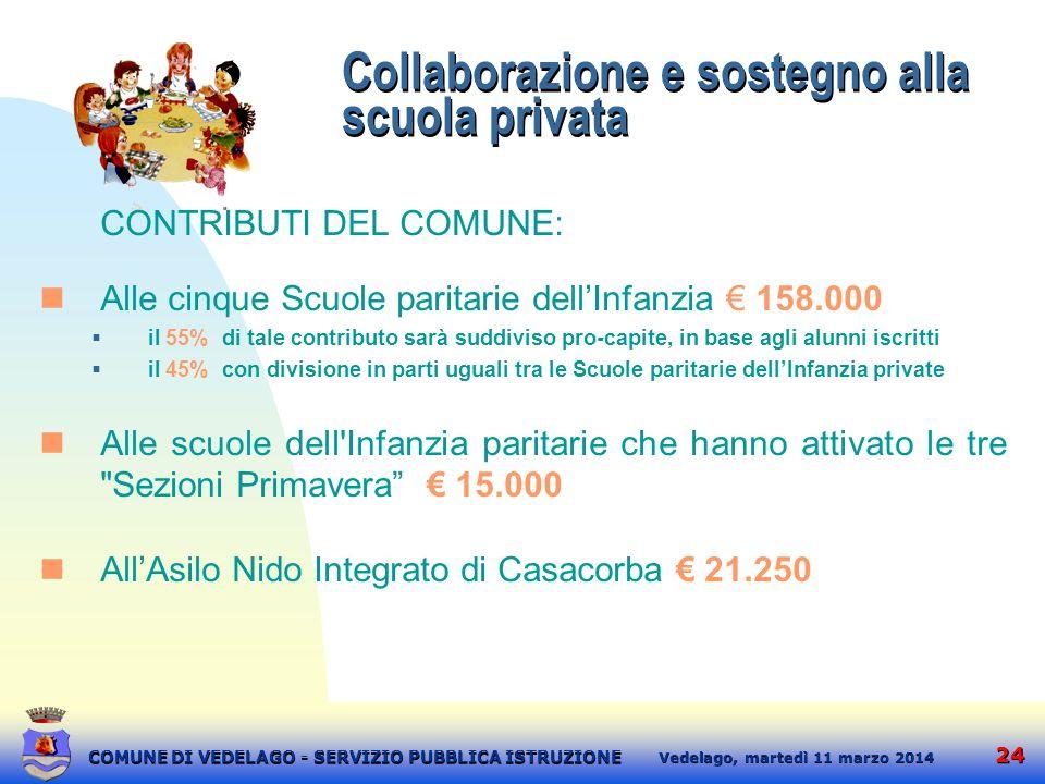 Collaborazione e sostegno alla scuola privata