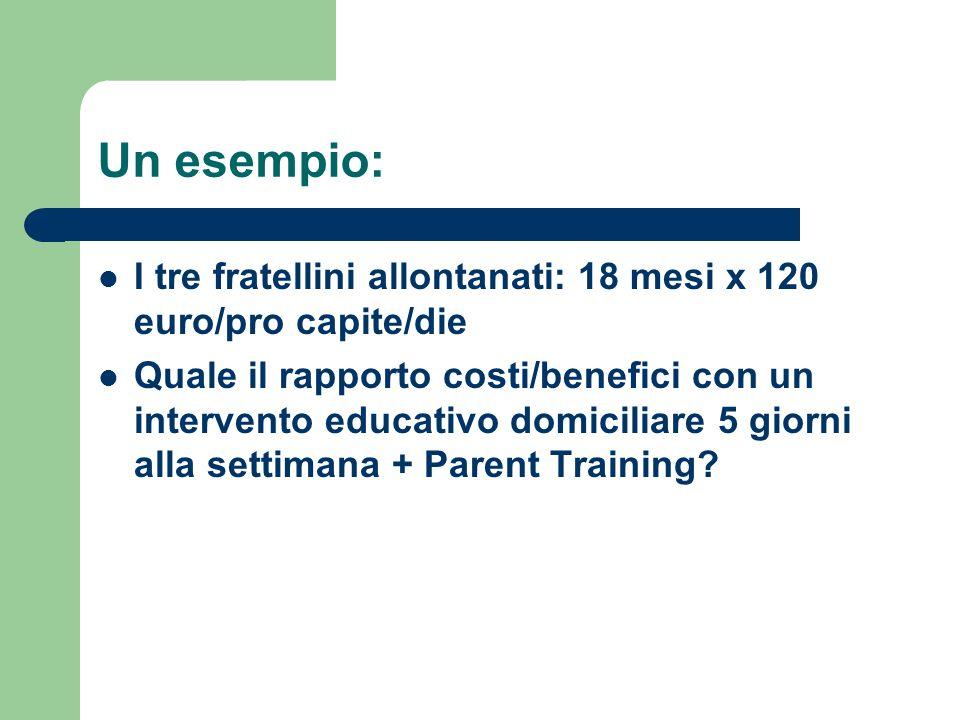 Un esempio: I tre fratellini allontanati: 18 mesi x 120 euro/pro capite/die.