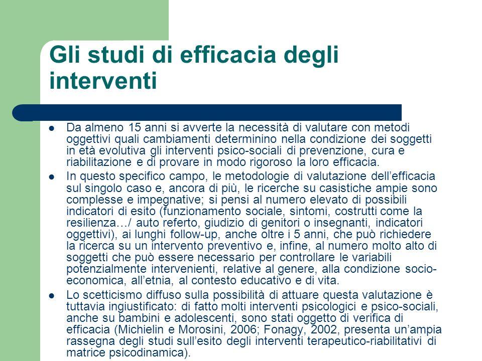 Gli studi di efficacia degli interventi