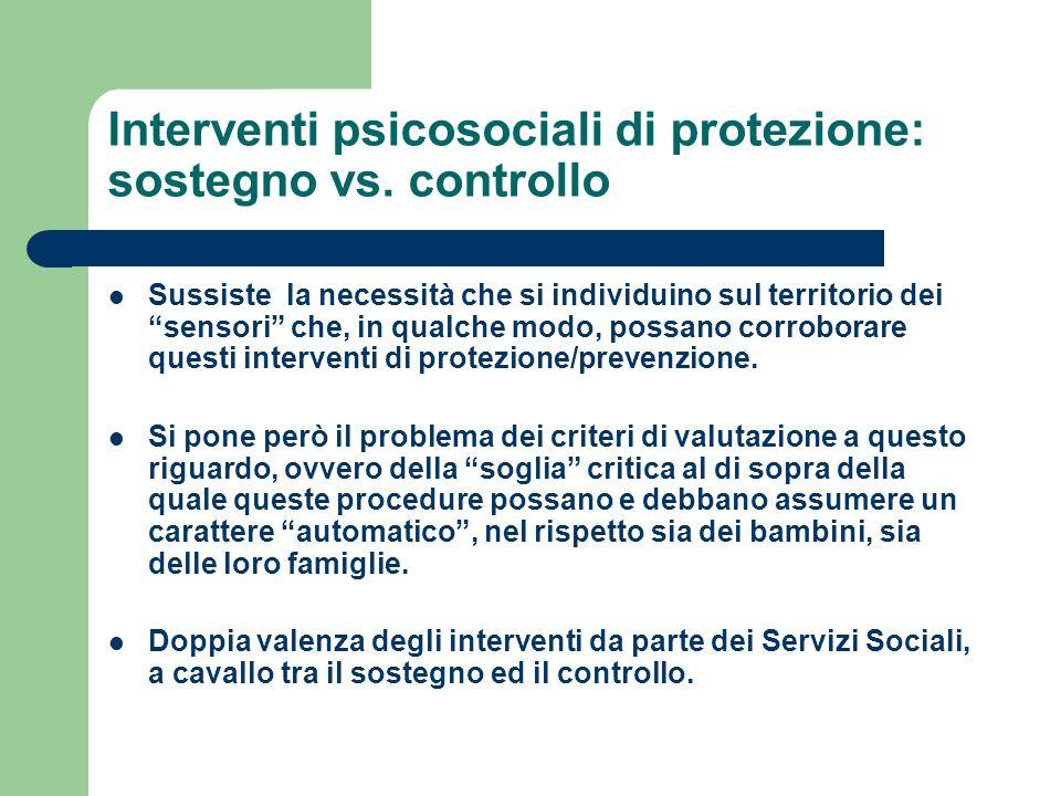 Interventi psicosociali di protezione: sostegno vs. controllo