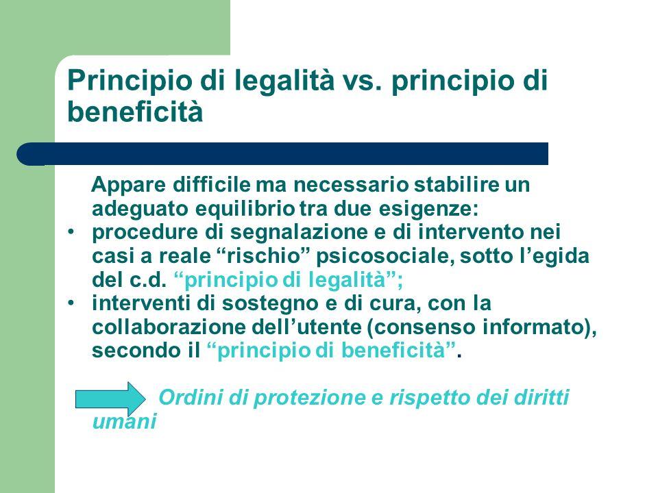 Principio di legalità vs. principio di beneficità