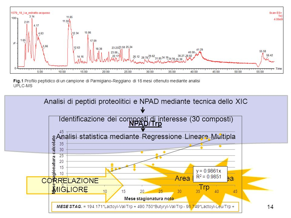 Analisi di peptidi proteolitici e NPAD mediante tecnica dello XIC