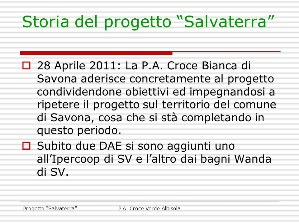 Storia del progetto Salvaterra