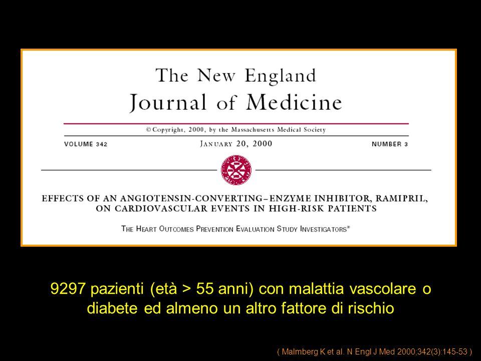 9297 pazienti (età > 55 anni) con malattia vascolare o diabete ed almeno un altro fattore di rischio