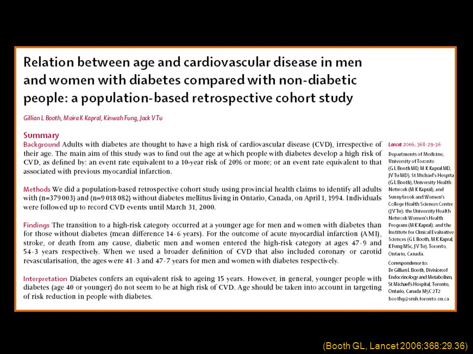 (Booth GL, Lancet 2006;368:29.36)