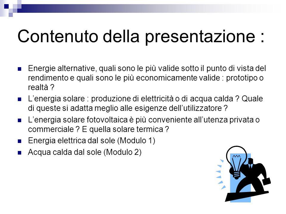 Contenuto della presentazione :